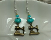 Sewing Machine Earrings, Gold Turquoise Sewing Machine Sterling Silver Dangle Earrings, Gold Turquoise Sewing Machine Earrings