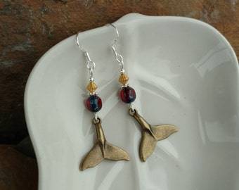 Dolphin Tail Earrings, Gold Whale Tail Red Sterling Silver Earrings, Gold Dolphin Whale Tail Sterling Silver Earrings, Whale Tail Earrings