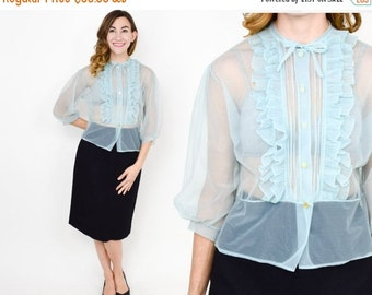 SummerS SALE 50s Blue Blouse | Powder Blue Sheer Nylon Top Shirt Blouse | Medium