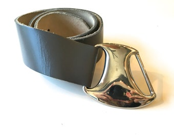 Grey Leather Belt 80s Silver Belt Buckle