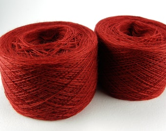 Red superwash lace weight yarn for lace knitting or Haapsalu shawl knitting, Japanese high quality, measure 2/28, 100 grams (1526yard)