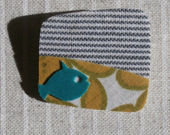 """textile brooch """"fish sailing""""-striped fabric- square shape pin-free shipping to Greece"""