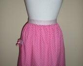 Handmade half apron pink white polka dot print NEW cotton kitchen tea