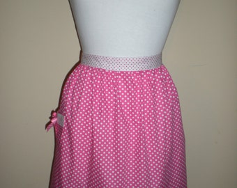 Handmade half apron pink white polka dot print NEW cotton kitchen tea