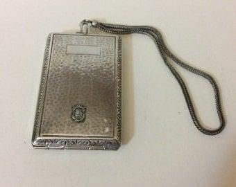 Antique Art Nouveau Silver Plated Compact Dance Purse with Comb