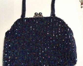 Vintage Cobalt-Blue Beaded Evening Bag