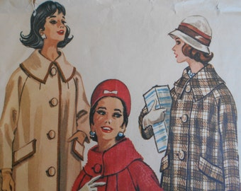 McCalls 6490 Misses and Womens Coat Sewing pattern size 14 raglan sleeve