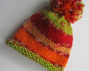 Red Green Orange Yellow Newborn Knit Baby Hat, Striped Baby Hat, Knit Baby Hat, Newborn Baby Hat, Baby Shower Gift, Baby Hat
