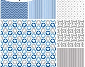 FQ Bundle Blue Gray Coordinates Flannel Fabric - Contains 6 Fat Quarters