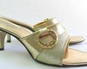 Vintage 1960s Gold Metallic Slip-on Pumps