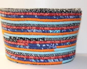 Large Multi-Colored Clothesline Basket, Coiled Bowl, Fabric Basket, Fabric Bowl, Fabric Pottery, Coiled Basket
