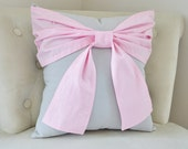 Throw Pillow - Decorative Pillow -  Light Pink Big Bow on Light Gray Pillow