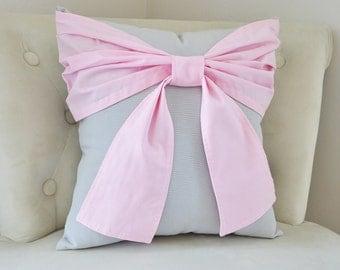 Throw Pillow - Decorative Pillow -  Light Pink Big Bow on Light Gray Pillow