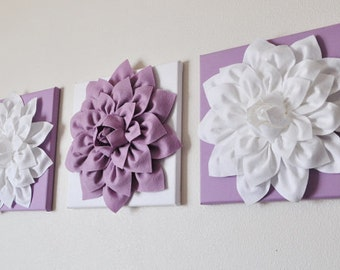 "Wall Art -SET of THREE - White Dahlia on Lilac and Lilac dahlia on White - 12 x12"" Canvas Wall Art - Home Decor - Nursery Decor"