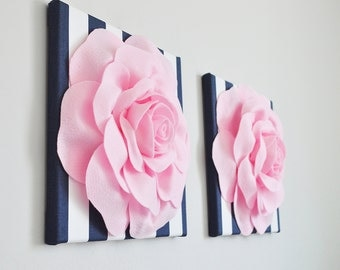"""Soft Pink Roses on Navy and White Stripe  12 x12"""" Canvas Wall Hanging - 3D Fabric Flower Nursery Decor Nautical Decor Navy and Pink Girls"""