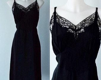 Vintage Slip, Vintage Full Slips, Vintage Black Slips, 1940s Slips, Seamprufe, 1940s Black Full Slip, Size 42, 1940s Lingerie