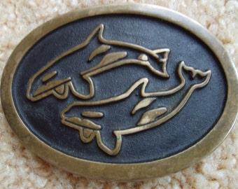 Bronze Belt Buckle Dolphins, Bronze Buckle, Buckle by Rainbow Metals