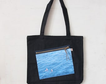 Zipper Pocket Tote Bag, Nice, France, Beach, Shopping bag, School bag, Computer carrier Black or Natural White