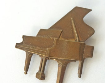 Piano Jewelry Copper Vintage Brooch Large Pin