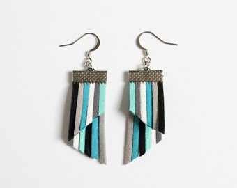 Color Stripes Earrings - Blue White Gray Black Stripes