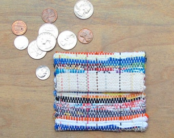 Woven Fiesta Rainbow Rustic Boho Wallet Purse, Coin Change Pouch, Small Handbag Lunch Money Purse, Key Pouch ID Card Trinket Pocket Hand Bag