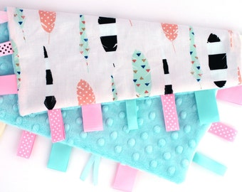 Personalized Tag Ribbon Minky Security Blanket- Girl Feathers on Aqua Minky Dot