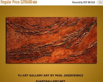 """17% OFF /ONE WEEK Only/ Deep Texture Competition - textured abstract Paul Juszkiewicz cognac brown 60""""x30"""""""