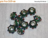 ON SALE 10% off Clearance Set of 10 or 20 Green white Christmas glass slide charm charms for bracelets or Hair Ties Q31