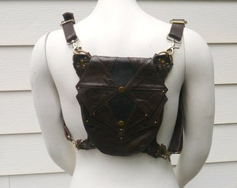 Galaxy Leg Holster Backpack  Brown and Antique Brass Steampunk Dieselpunk Leather Utility Belt Bag