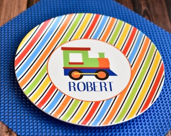 Personalized Train Plate / Personalized Train Melamine Plate / Personalized Plates for kids / Kids Personalized Plate / Train Plate