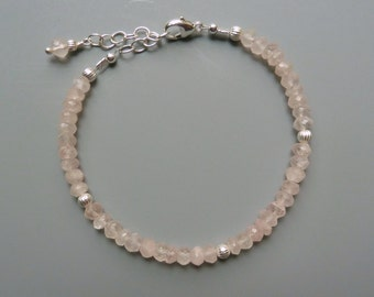 Gemstone Stacking Bracelet, Rose Quartz Bracelet, Gemstone Layering Bracelet, Delicate Bracelet, Silver Stacking Bracelet, Gift For Her