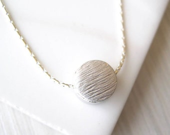 Minimalist Necklace, Modern Silver Jewelry, Dot, Simple, Dainty, Contemporary, Rhodium, Sterling Silver Option