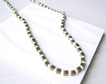 Brass Necklace, Pearl Seed Bead, Modern Bridal Jewelry, Metal, Gold Tone, Wrap Bracelet, Cream, Beaded, Metallic, Cubes, Convertible Jewelry