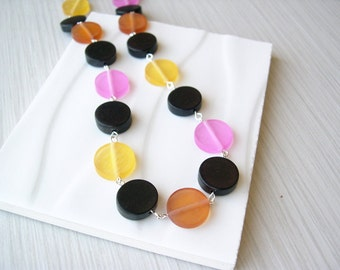 Black Wood Necklace - 5th Anniversary Gift, Resin Jewelry, Yellow, Pink, Orange, Rust, Geometric, Cheerful, Multicolor, Multi Color
