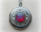 Dragons Breath Cameo Locket Victorian Jewelry Cameo Necklace Locket Necklace Victorian Necklace Fire Opal Cameo Locket Girlfriend Gift