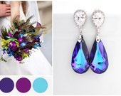 Peacock Wedding Earrings, Purple Turquoise Earring, Peacock Jewelry, Bridesmaid Peacock Earring, Heliotrope Swarovski Crystal Earring Purple