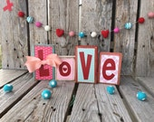 Ready to ship valentine love wood block set heart seasonal home decor gift Valentine's Day photo prop