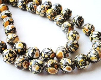 "Yellow Mosaic Beads - Round Gemstone Beads - Yellow Black Howlite - Natural Smooth Drilled Beads - 16"" Strand - 12mm - DIY Jewelry Project"