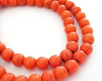 "Orange Howlite Beads - Orange Turquoise Round Ball -  Natural Gemstone Beads - 6mm - 16"" Strand - Fall DIY Jewelry Beading"