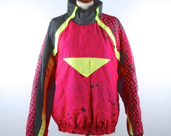 1980's Ski Jacket, Neon Pink and Yellow with Abstract Design