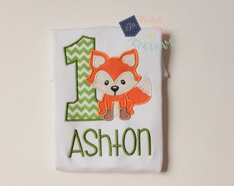 Custom Embroidered Fox Woodland First Birthday Shirt | ANY AGE AVAILABLE