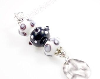 "Boho Lampwork Bead Necklace - Black - Bead Necklace - 24"""