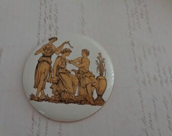 SALE Vintage  Italian Gold Design Round Plaque Grecian Design