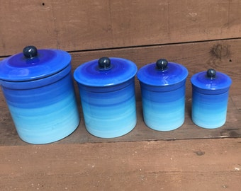 One of a Kind Set of 4 Blue Ombre Ceramic Canister Set with Rubber Seals - Bright Colorful Gradient Design - Shades of Navy Royal Aqua