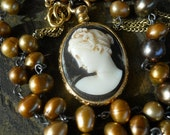 Goddess      Antique Czech Cameo Pearl Necklace