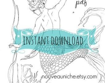 DIGITAL DOWNLOAD Adult Coloring Book Printable Women Gift Mermaid Pages Gifts