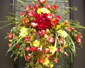 Red and Yellow Summer Wreath, Door Wreaths, Morning Glory Wreath, Yellow and Red Wreath