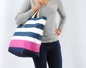EXTRA Large Beach Bag // Tote in Navy Horizontal Stripes with Pink Stripe, Monogram Available
