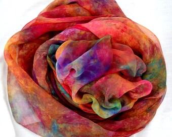 Silk Fabric , Silk Gauze Fabric , Hand dyed Silk Fabric, 88 x 41 inches, Ready to Ship, Made in Australia by SallyAnnesSilks G29