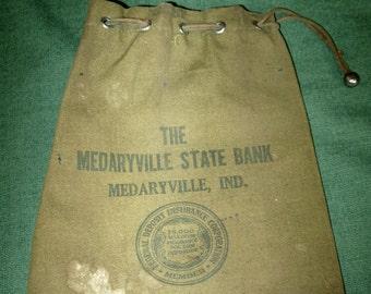 Vintage Bank Money Coin Bag Sack Medaryville Indiana